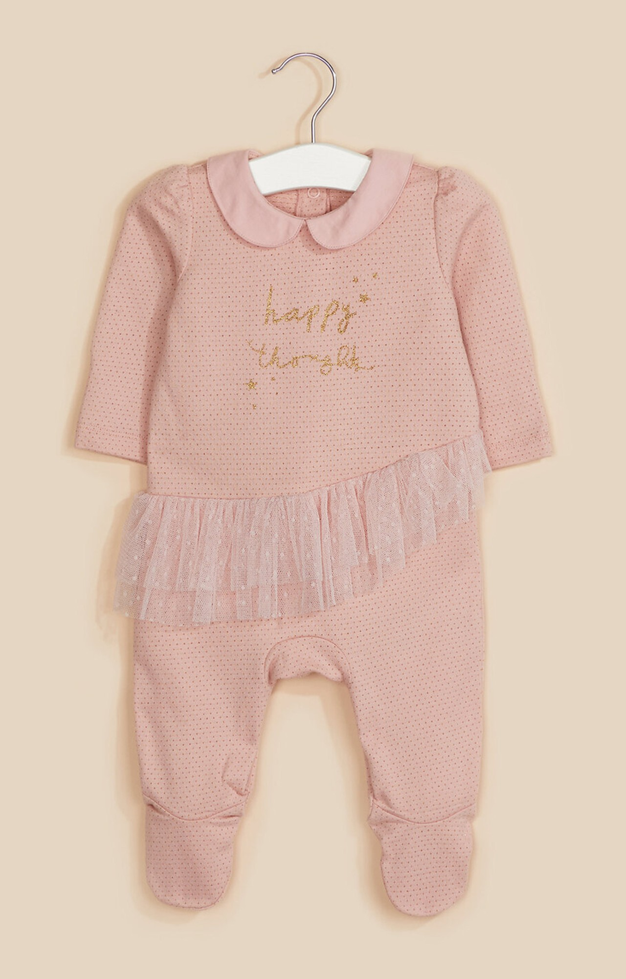 Mothercare   Pink Happy Thoughts Frill All In One
