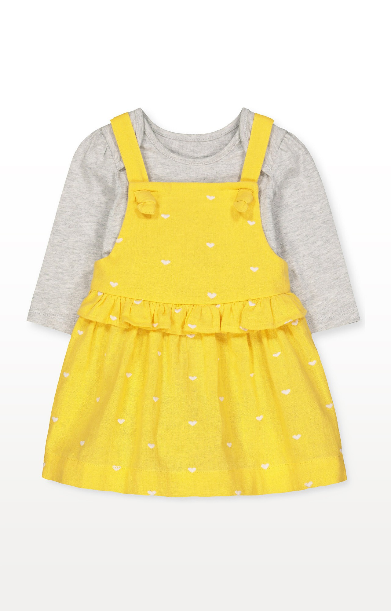 Mothercare | Yellow Heart Woven Dress and Grey Bodysuit Set