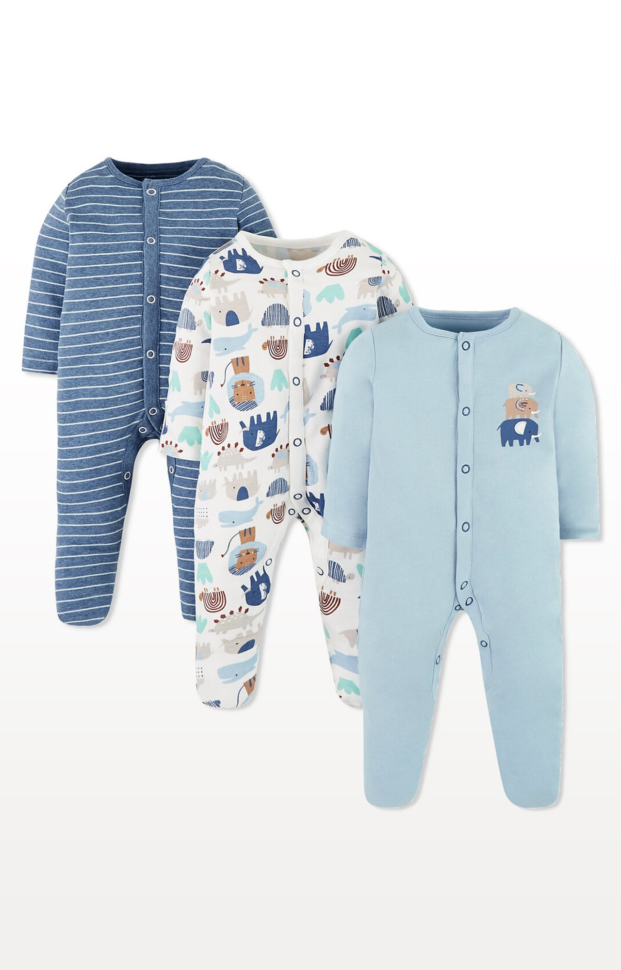 Mothercare   Blue Animal Friends Sleepsuits - Pack of 3