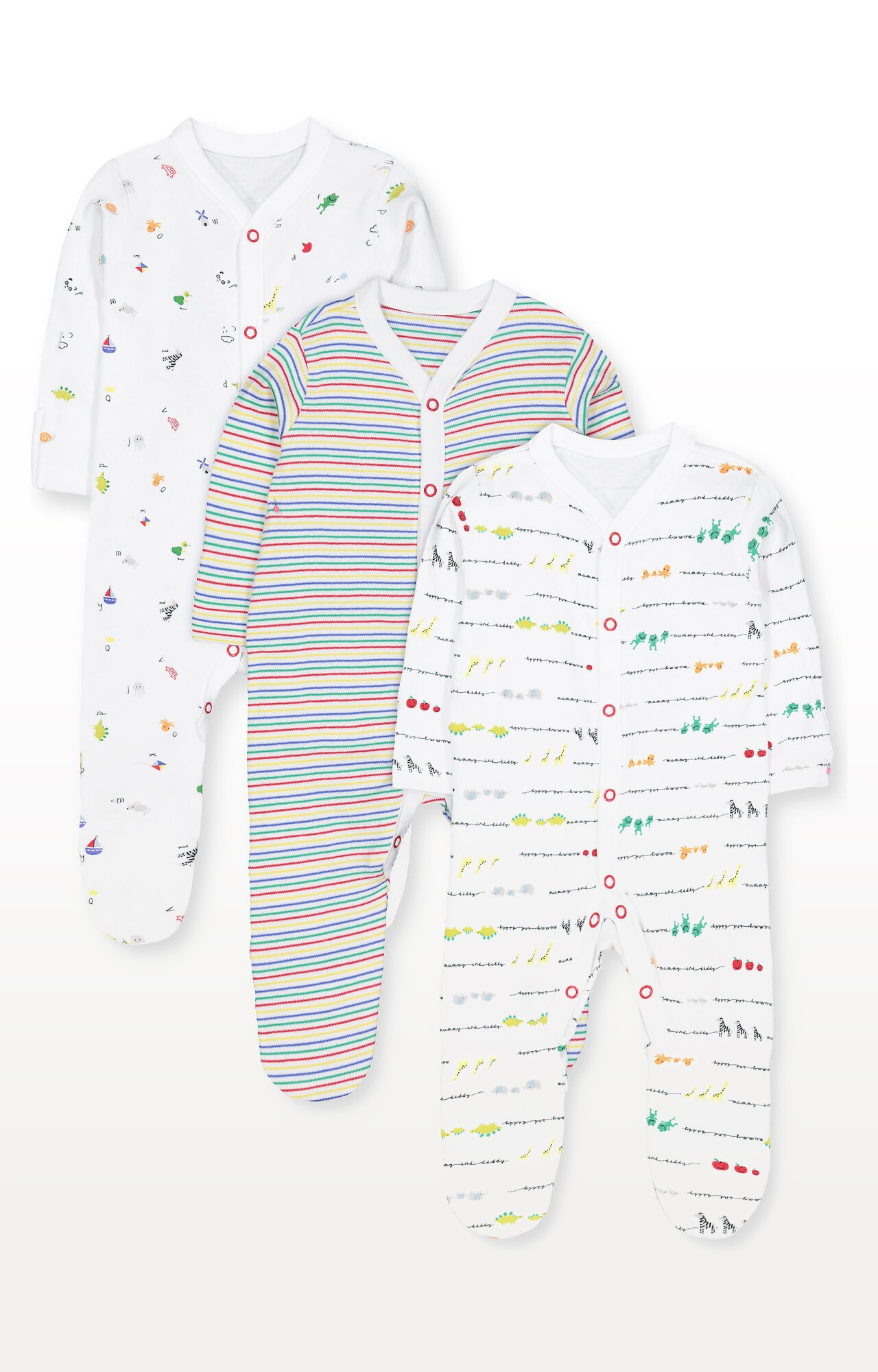 Mothercare | Alphabet, Animal and Stripe Sleepsuits - Pack of 3
