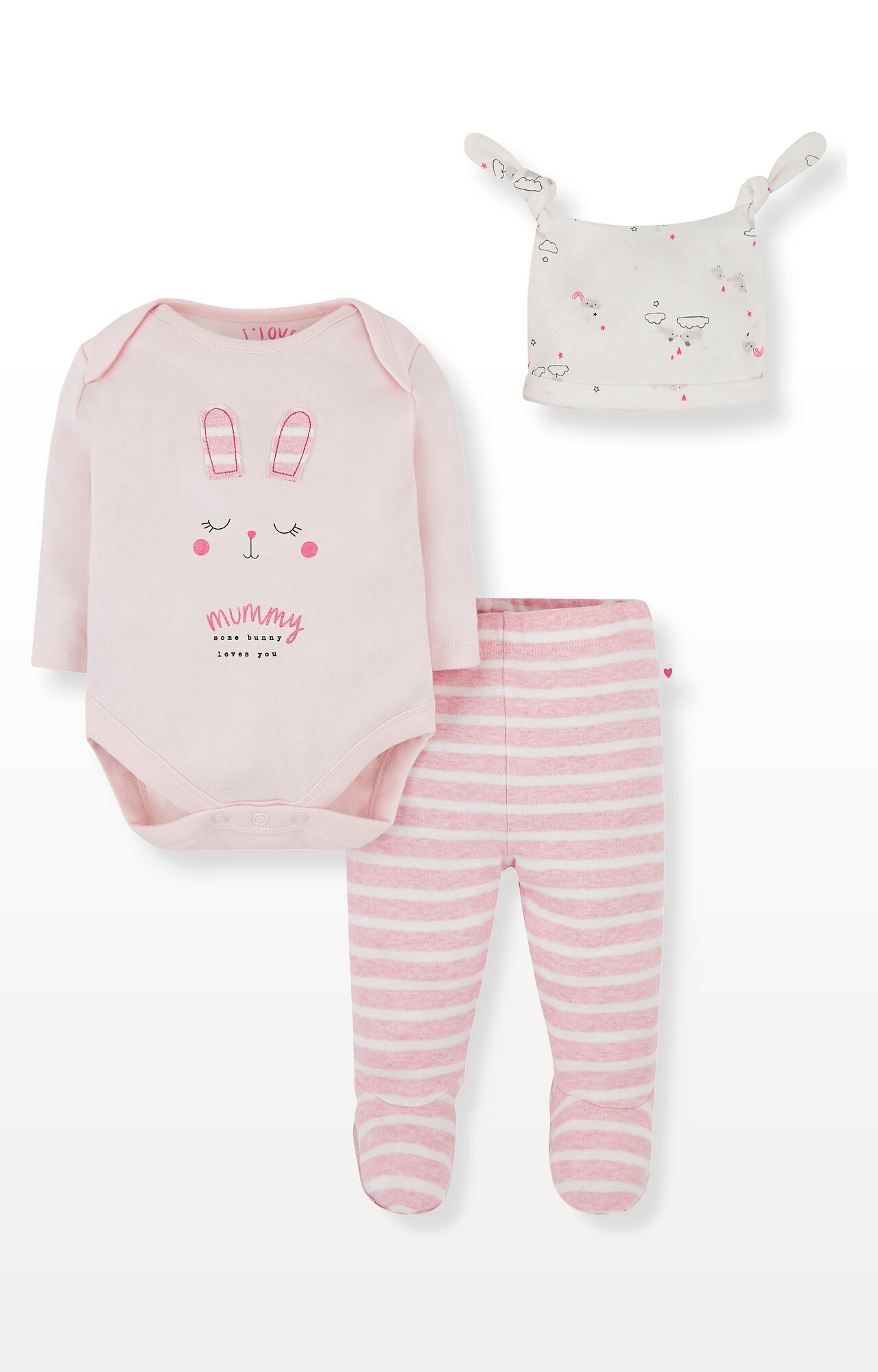 Mothercare | Pink Bunny Mummy Bodysuit, Leggings and Hat Set