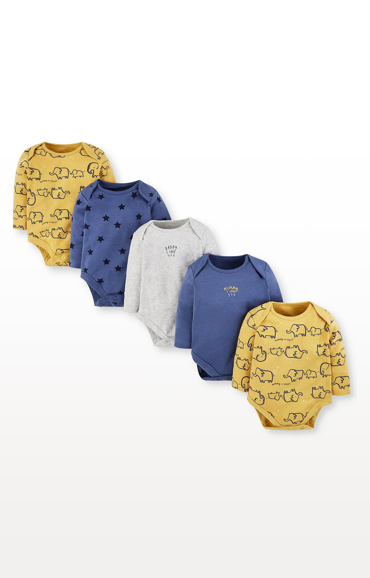 Mothercare | Mummy and Daddy Elephant and Star Bodysuits - Pack of 5