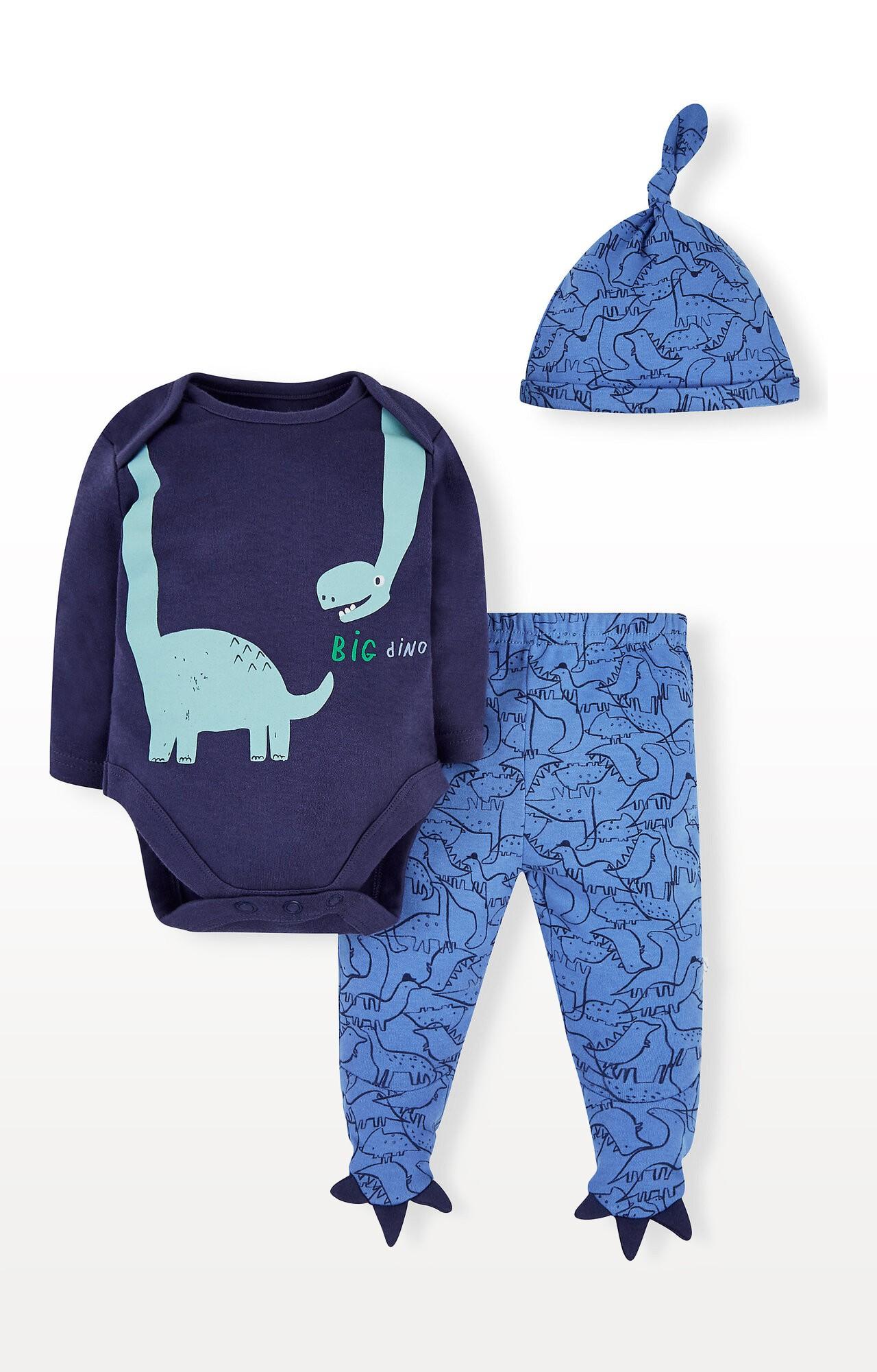 Mothercare | Blue Dinosaur Bodysuit, Leggings and Hat Set