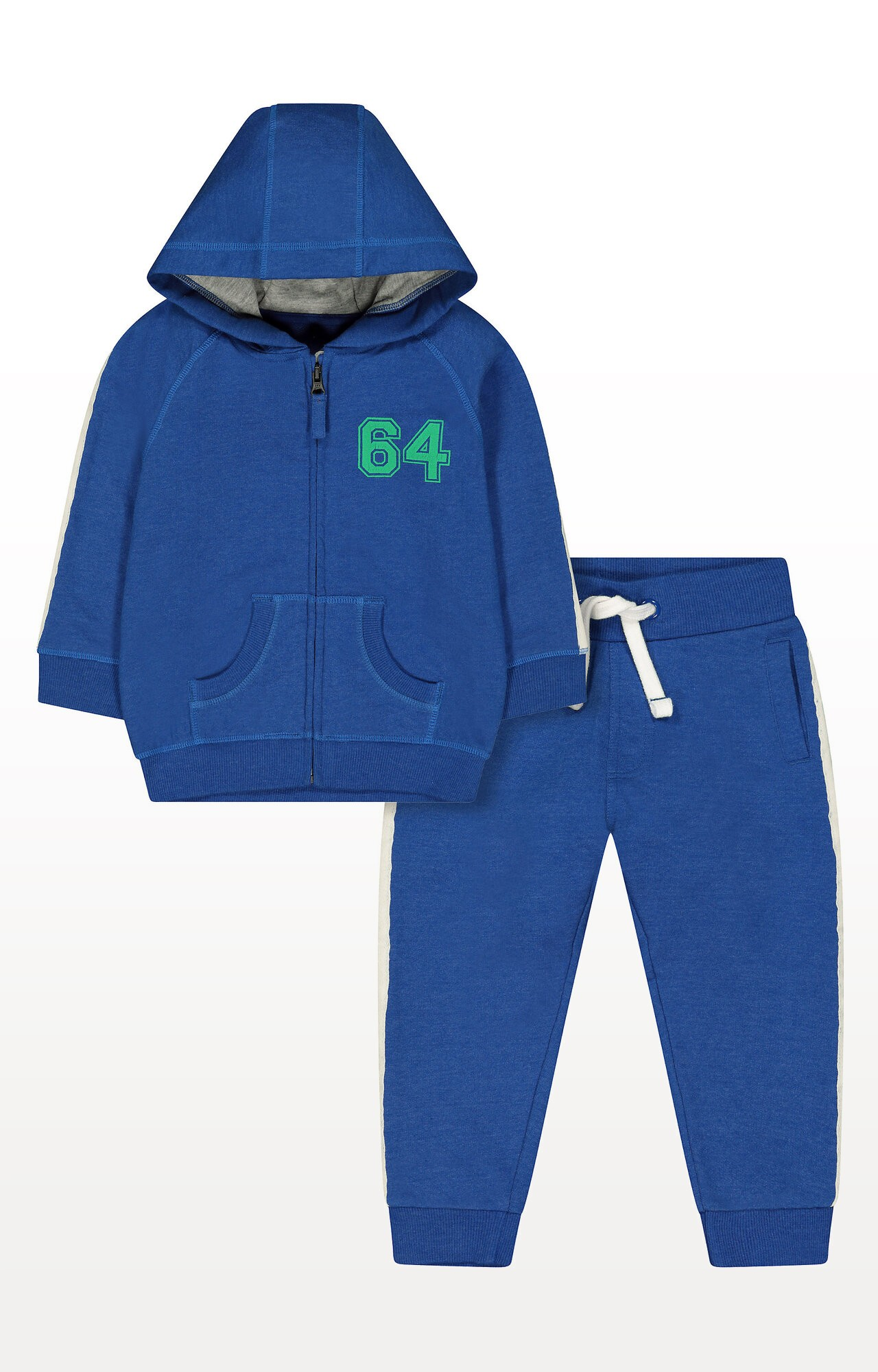Mothercare | Blue 64 Zip-Through Hoodie and Stripe Joggers Set