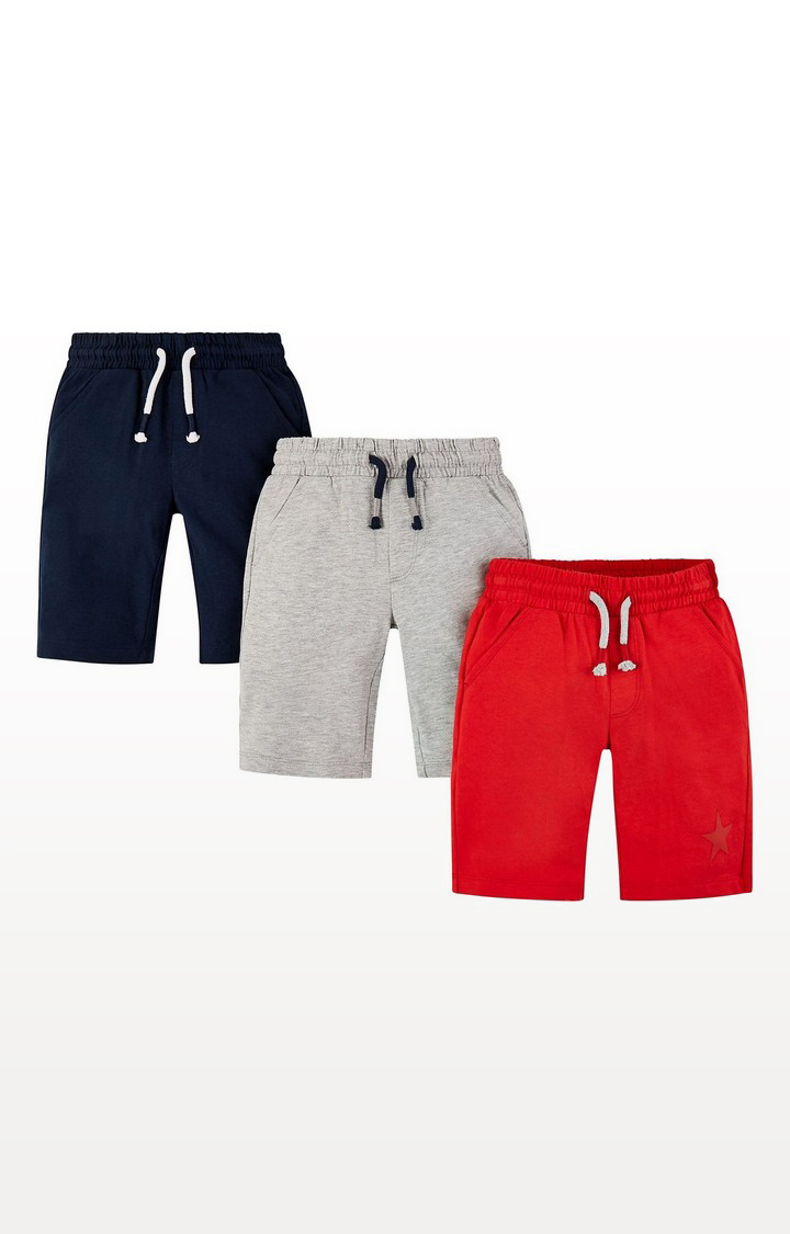 Mothercare   Red, Grey And Navy Shorts - 3 Pack