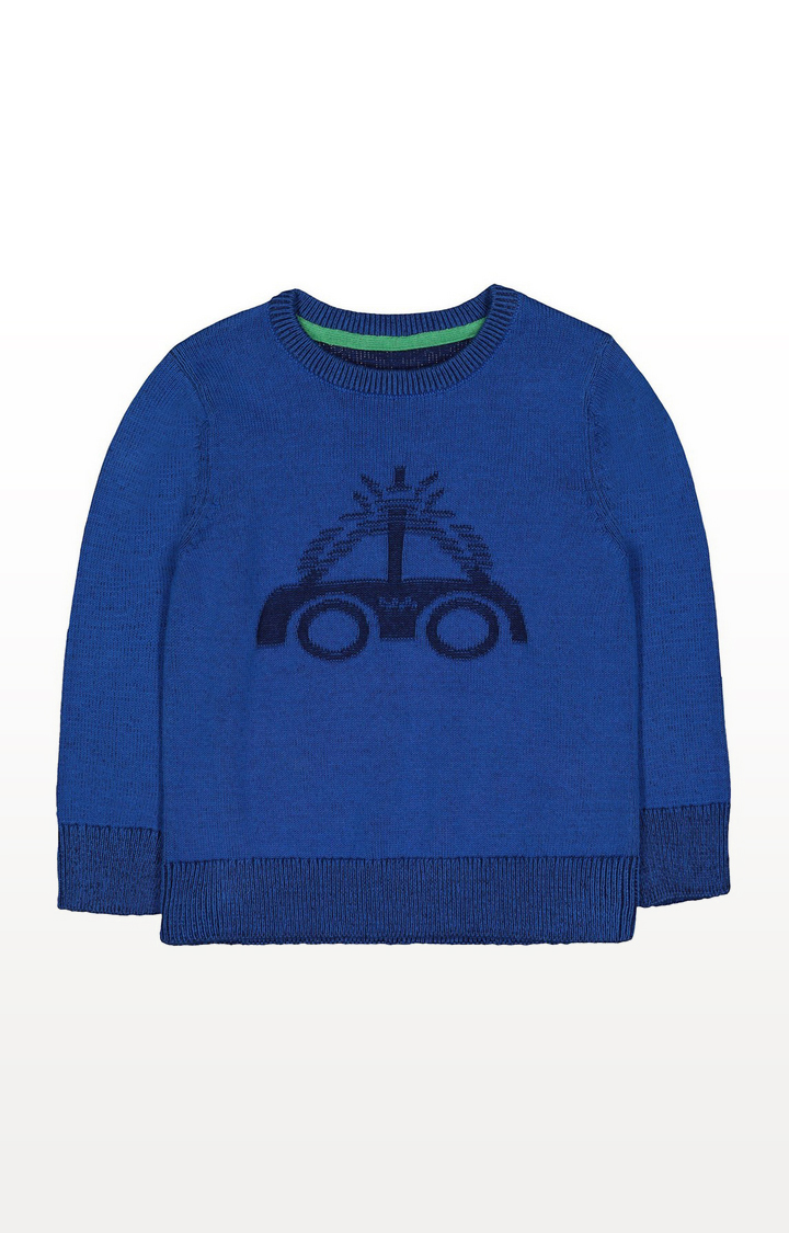 Mothercare | Blue Car Knitted Jumper