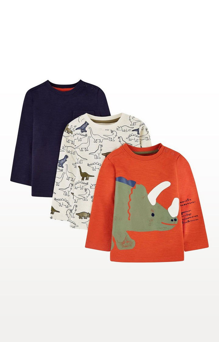 Mothercare | Orange, White And Blue Dinosaur T-Shirts - 3 Pack
