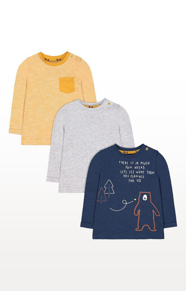 Mothercare | Navy Bear, Yellow And Grey T-Shirts - 3 Pack