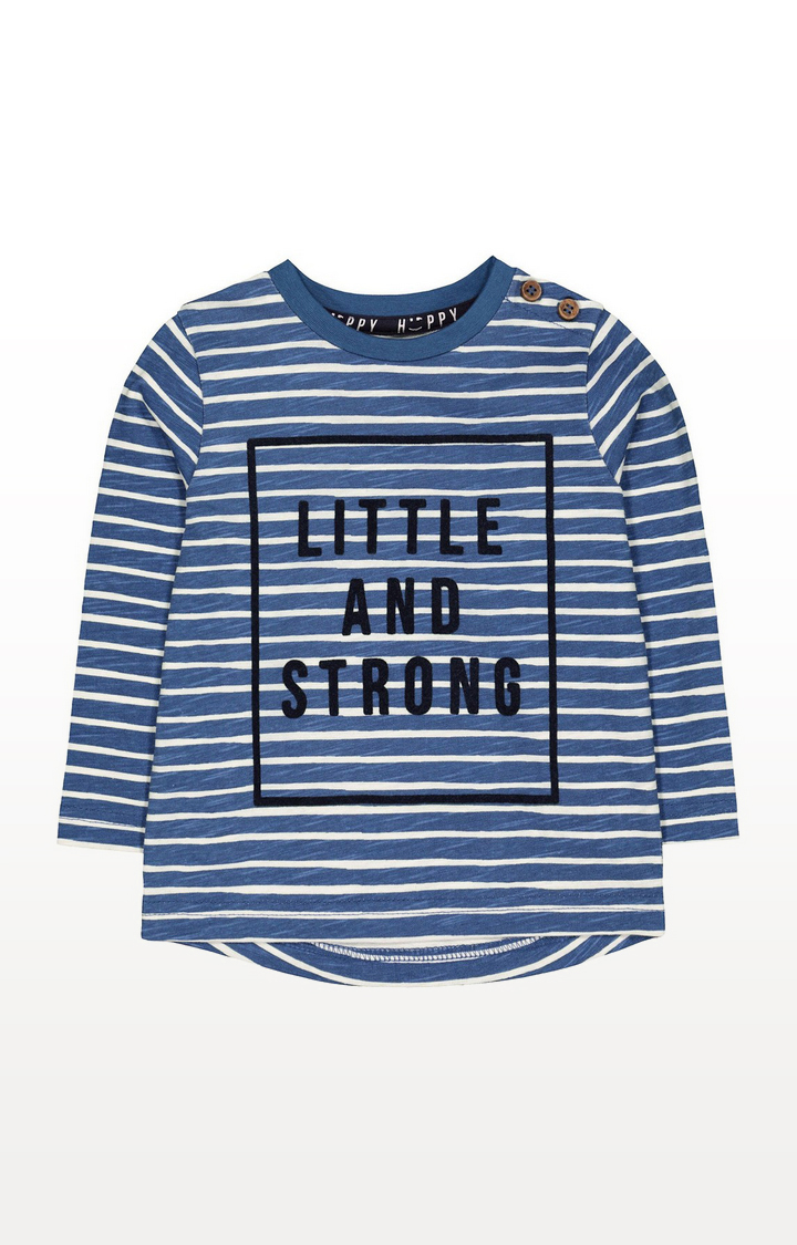 Mothercare | Blue Stripe Little And Strong T-Shirt