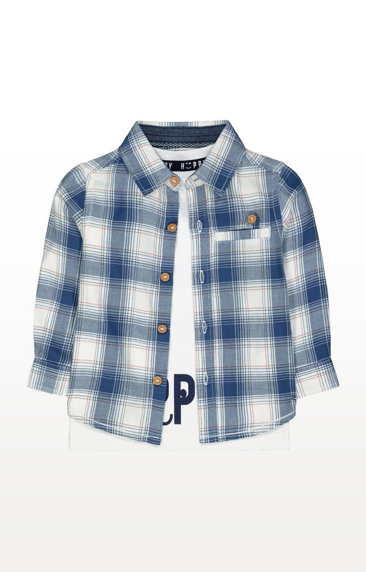 Mothercare | Blue Check Shirt And White Happy T-Shirt Set
