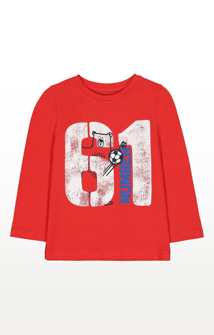 Mothercare | Red Number 61 Bear T-Shirt