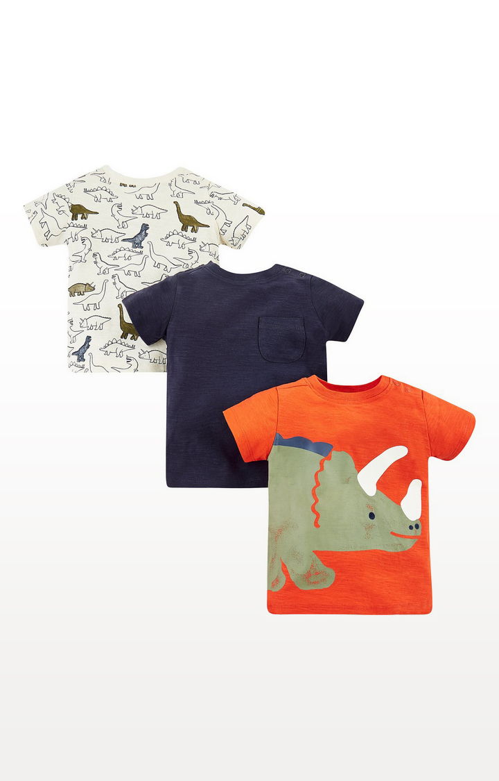 Mothercare   Orange, White And Blue Dinosaur T-Shirts - 3 Pack