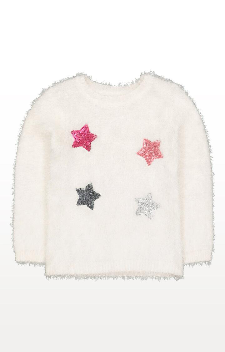 Mothercare | Cream Sequin Stars Eyelash Jumper