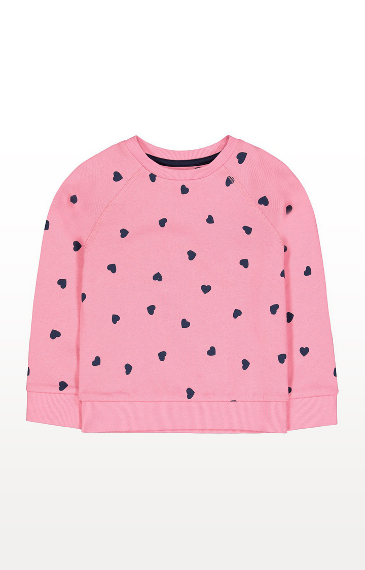 Mothercare | Pink And Navy Heart Sweat Top