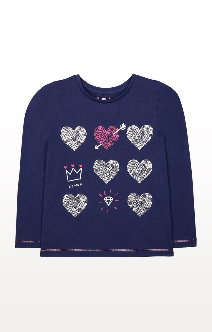 Mothercare | Navy Hearts, Crown And Diamond T-Shirt