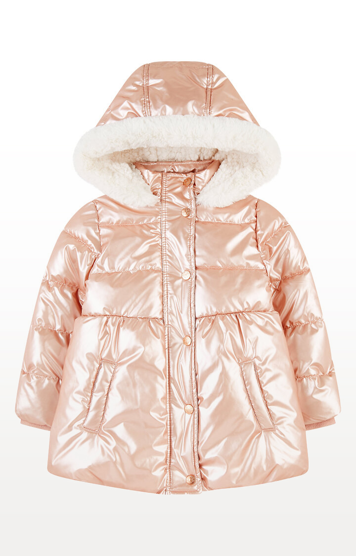 Mothercare | Shiny Pink Padded Borg-Lined Coat