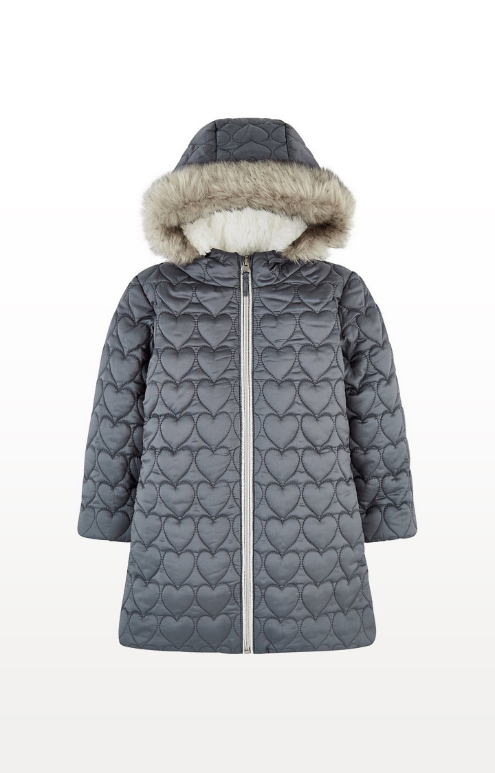 Mothercare | Quilted Heart Coat With Borg Lining