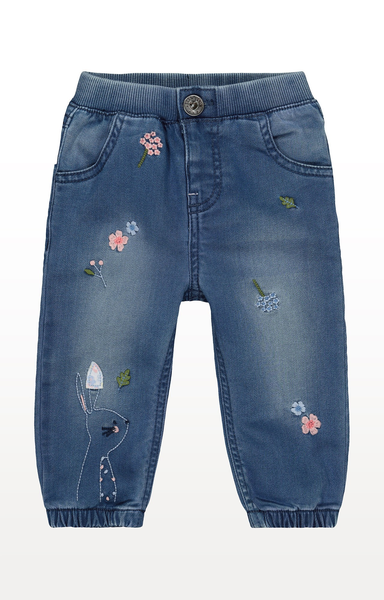 Mothercare | Blue Flower and Bunny Embroidered Cuffed Jeans