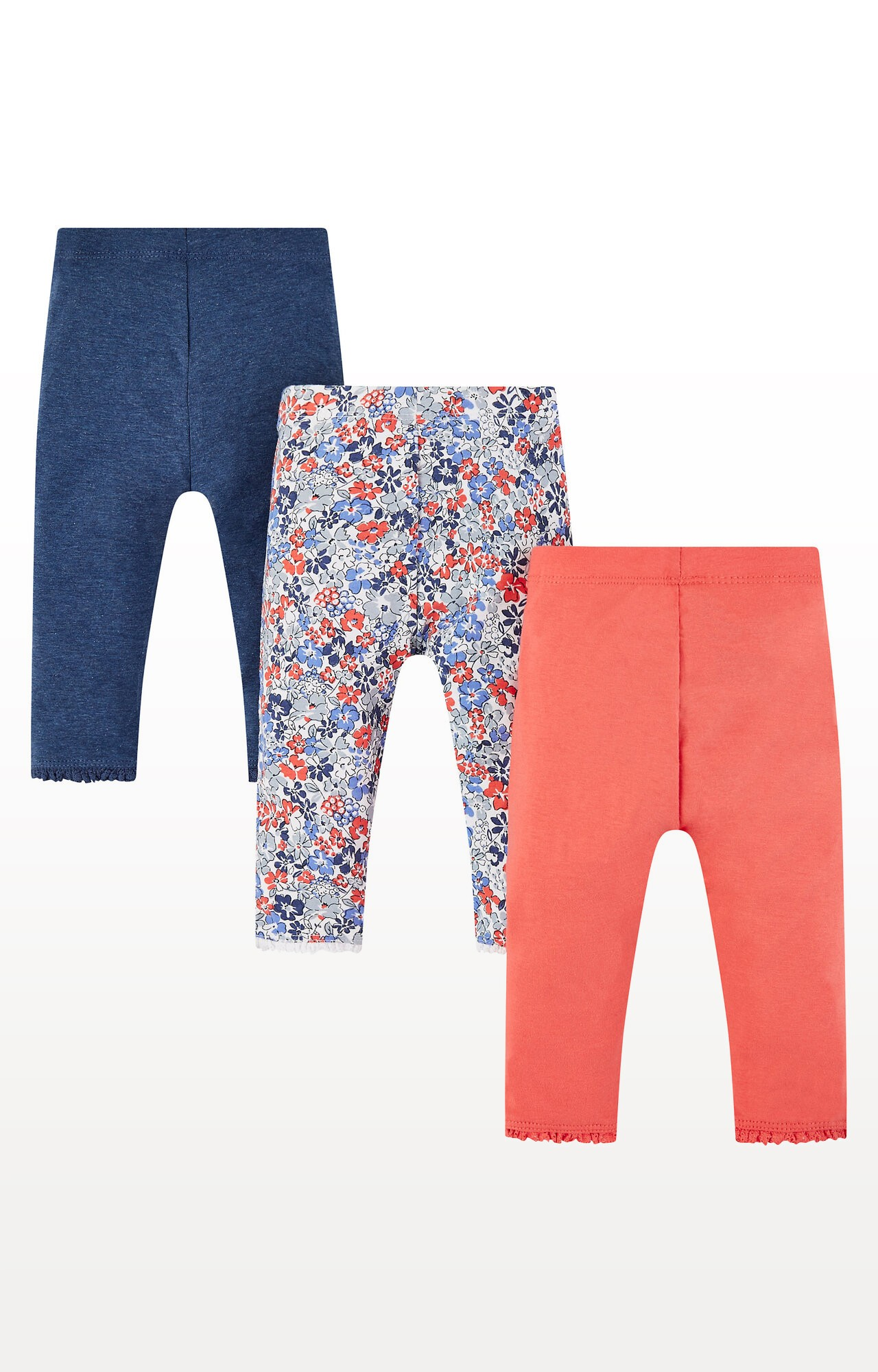 Mothercare   Floral, Blue and Coral Leggings - Pack of 3