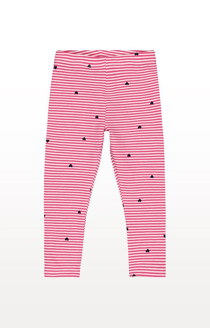 Mothercare | Pink Stripe Hearts Leggings