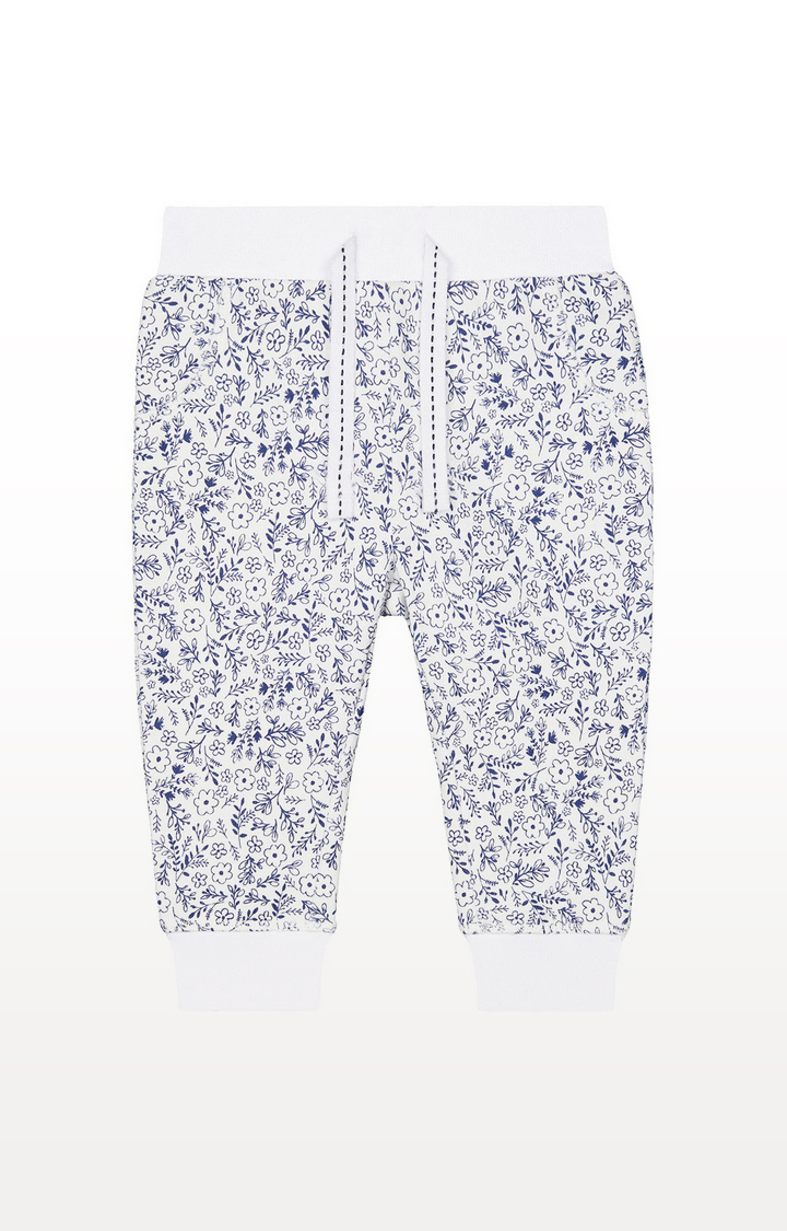 Mothercare | White And Blue Ditsy Floral Joggers