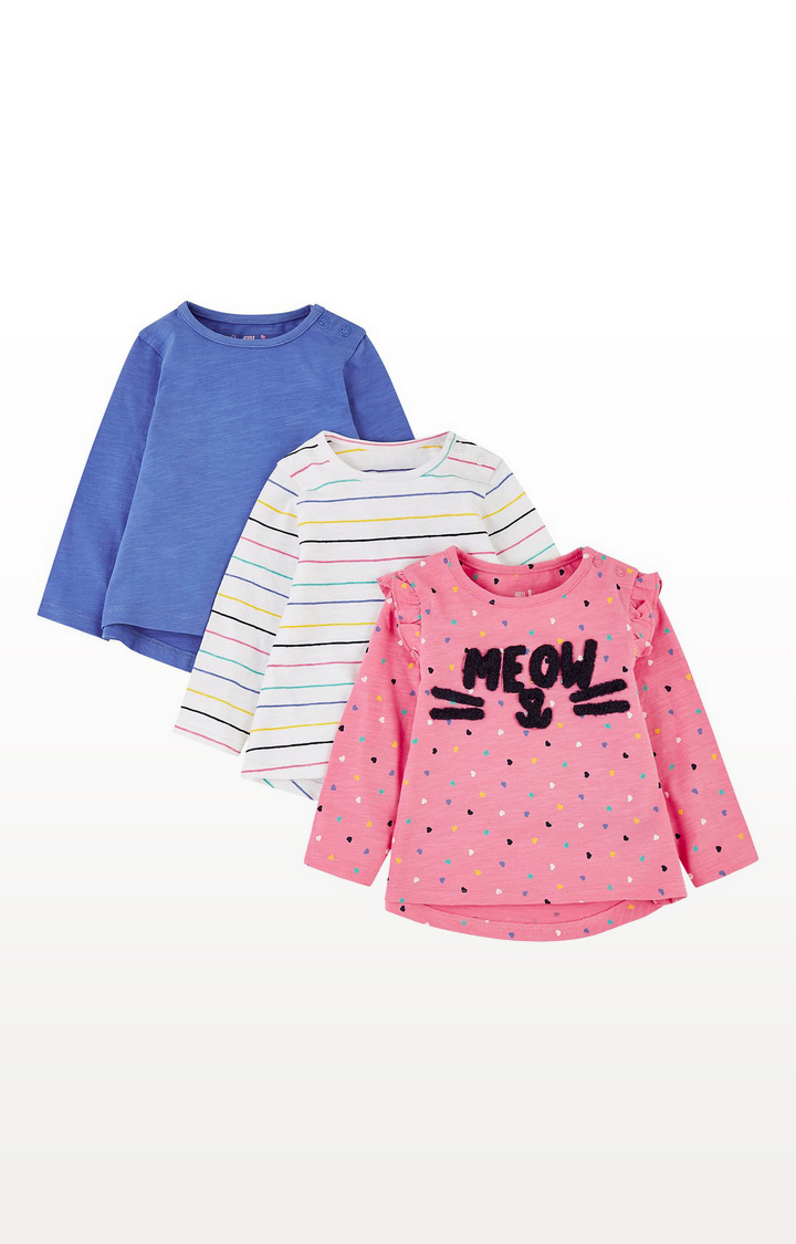 Mothercare | Meow Heart Pink, Blue And Stripe T-Shirts - 3 Pack