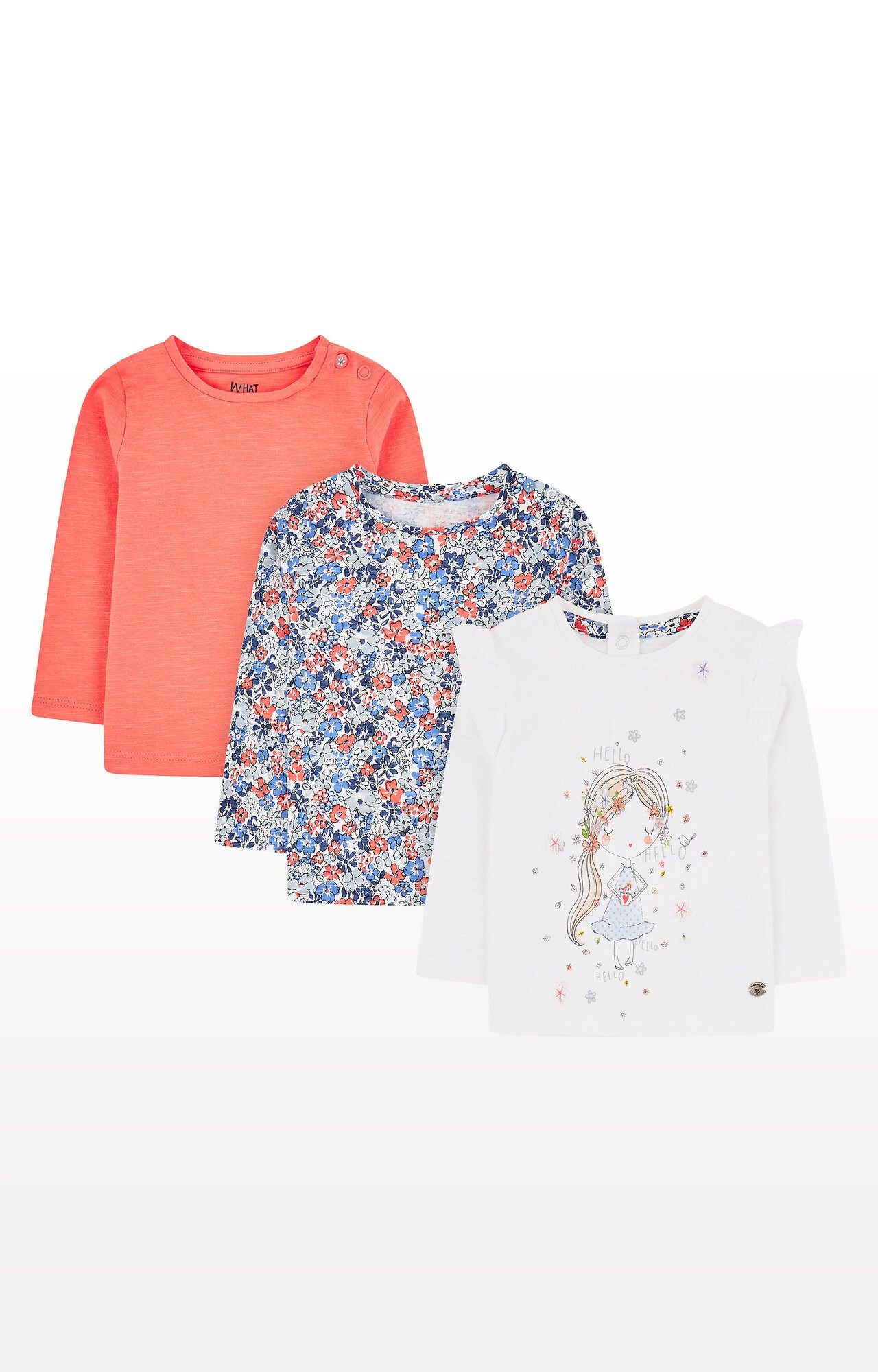 Mothercare | Girl, Ditsy Floral and Coral T-Shirts - Pack of 3