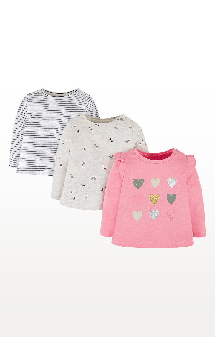 Mothercare | Hearts, Stripe and Stars T-Shirts - Pack of 3