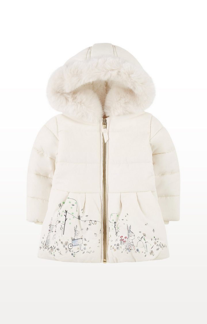 Mothercare | Cream Padded Coat With Borg Lining