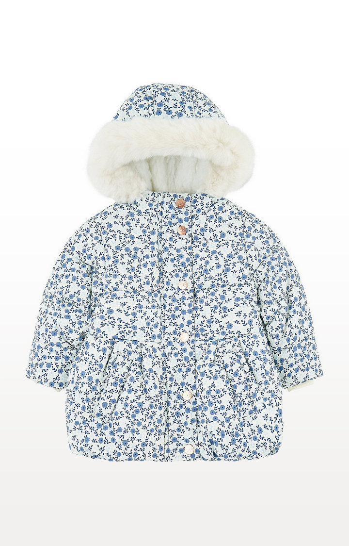 Mothercare | Floral Padded Coat With Borg Lining