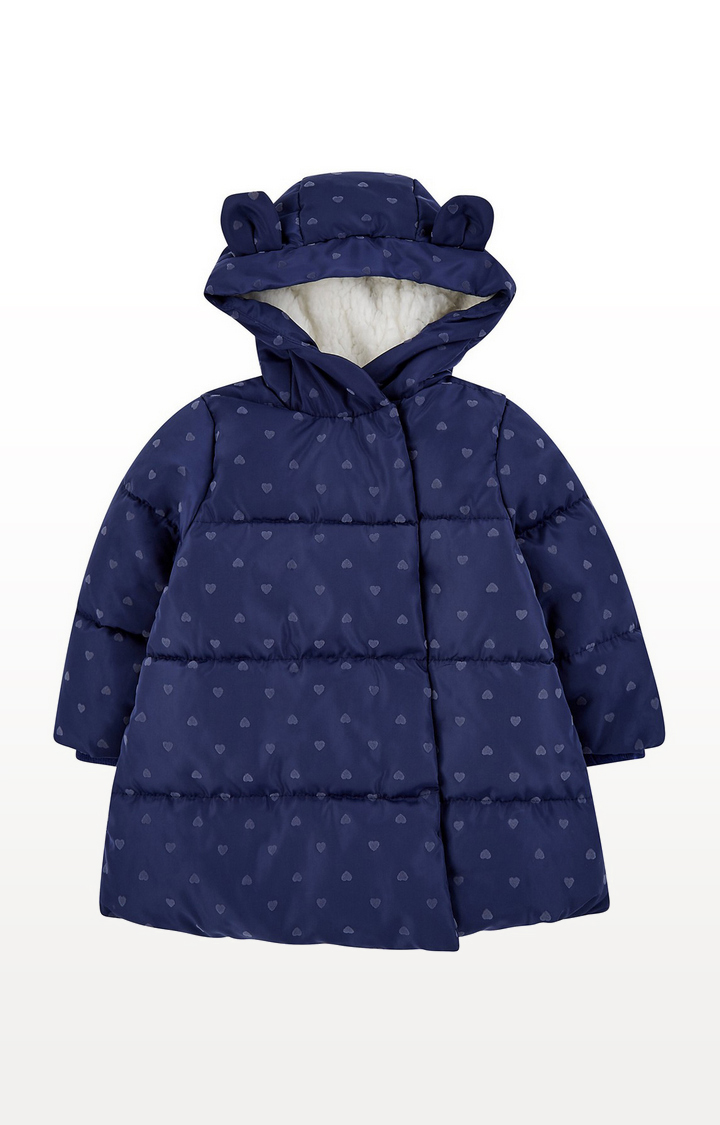 Mothercare | Navy Heart Padded Coat With Borg Lining