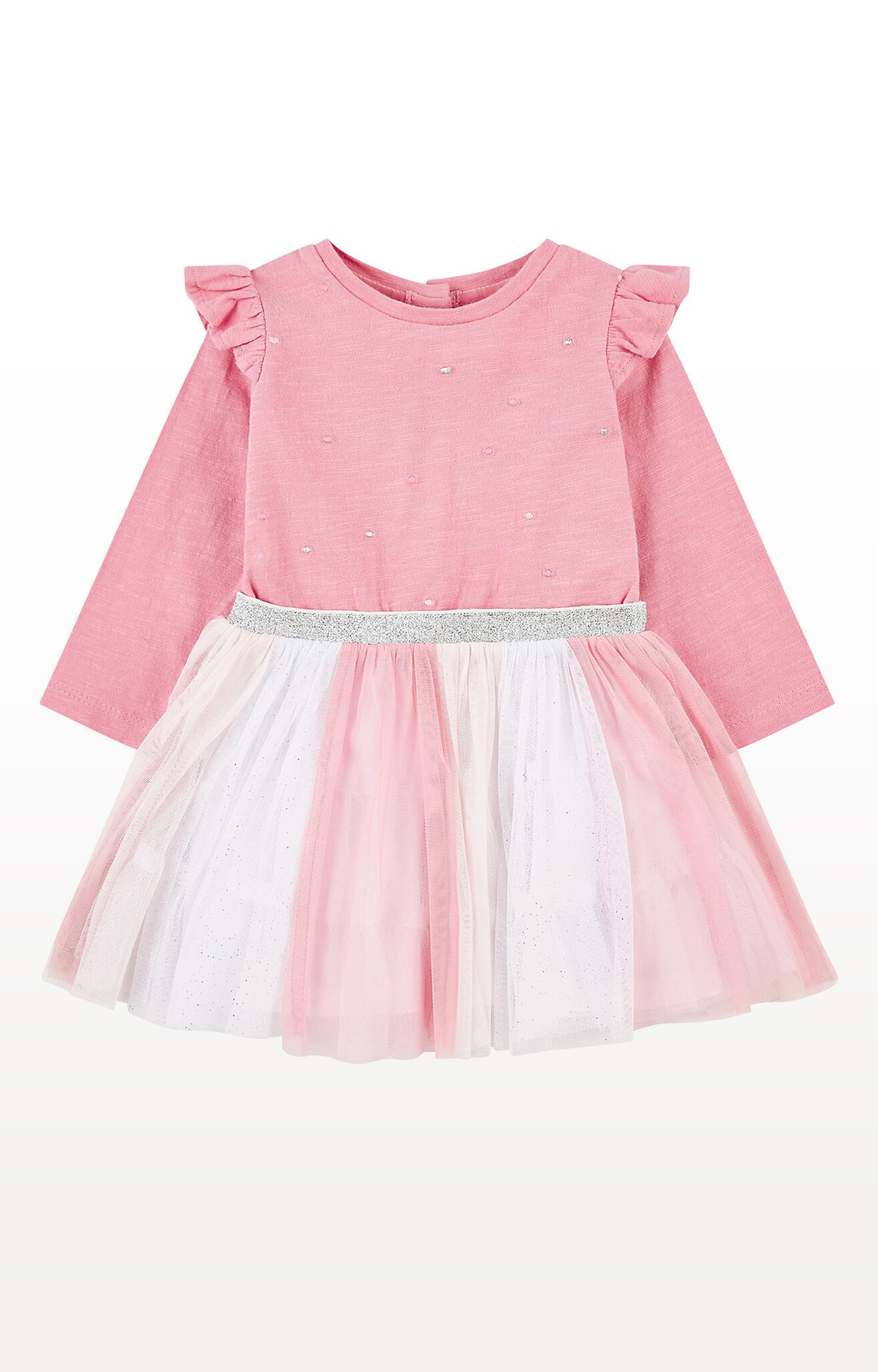 Mothercare | Pink Glitter Stripe Frill Twofer Dress