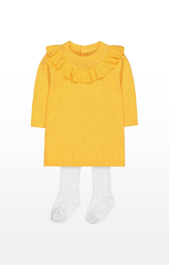 Mothercare | Mustard Knitted Frill Dress
