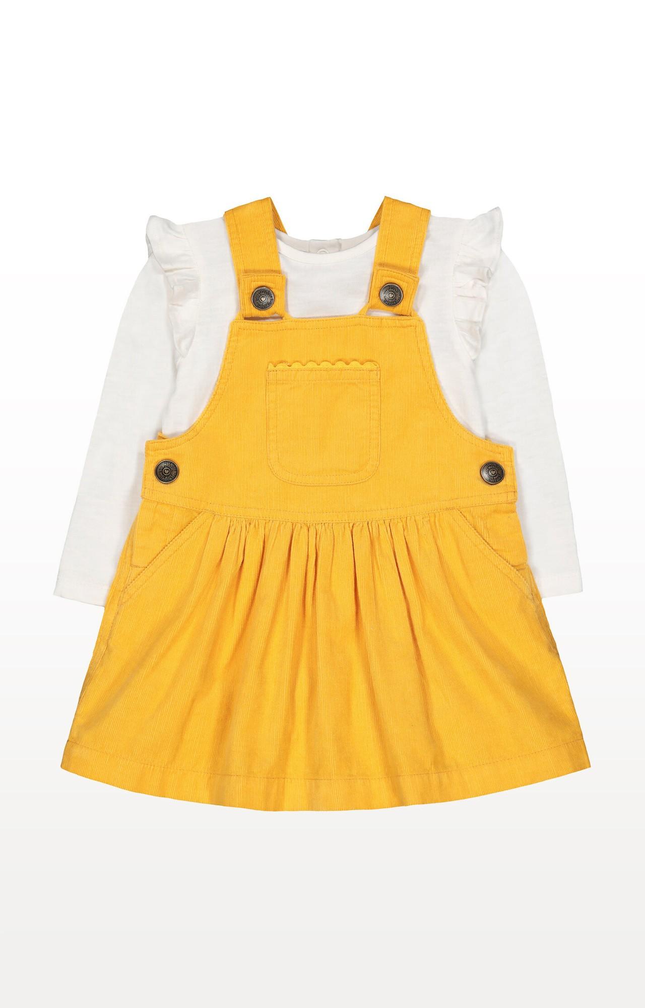 Mothercare   Yellow Cord Pinny Dress and T-Shirt Set
