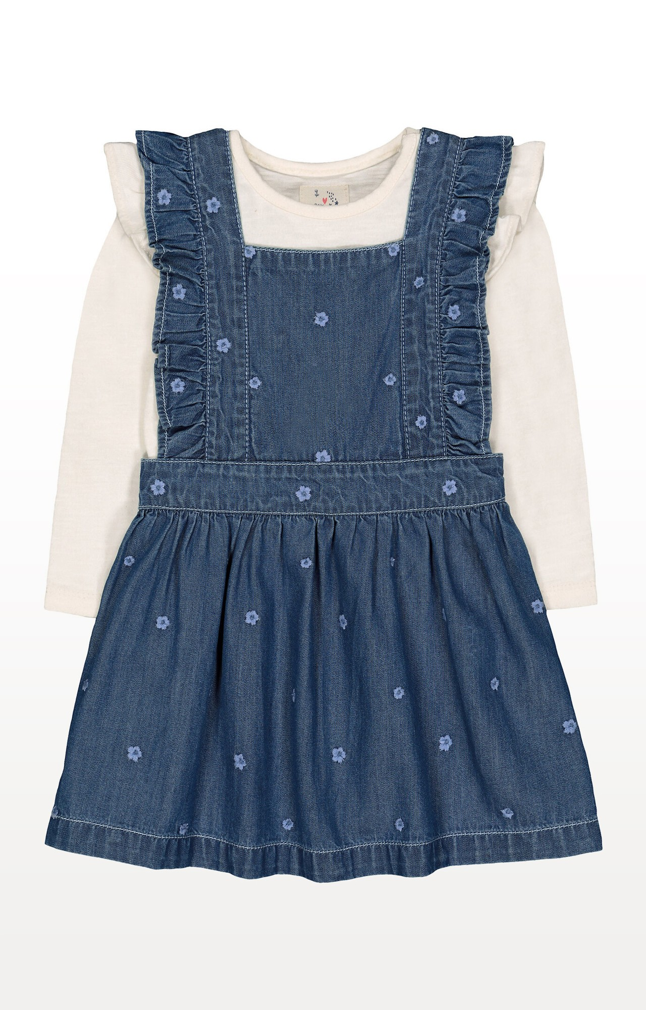 Mothercare | Denim Floral Pinny and Cream Frill T-Shirt Set