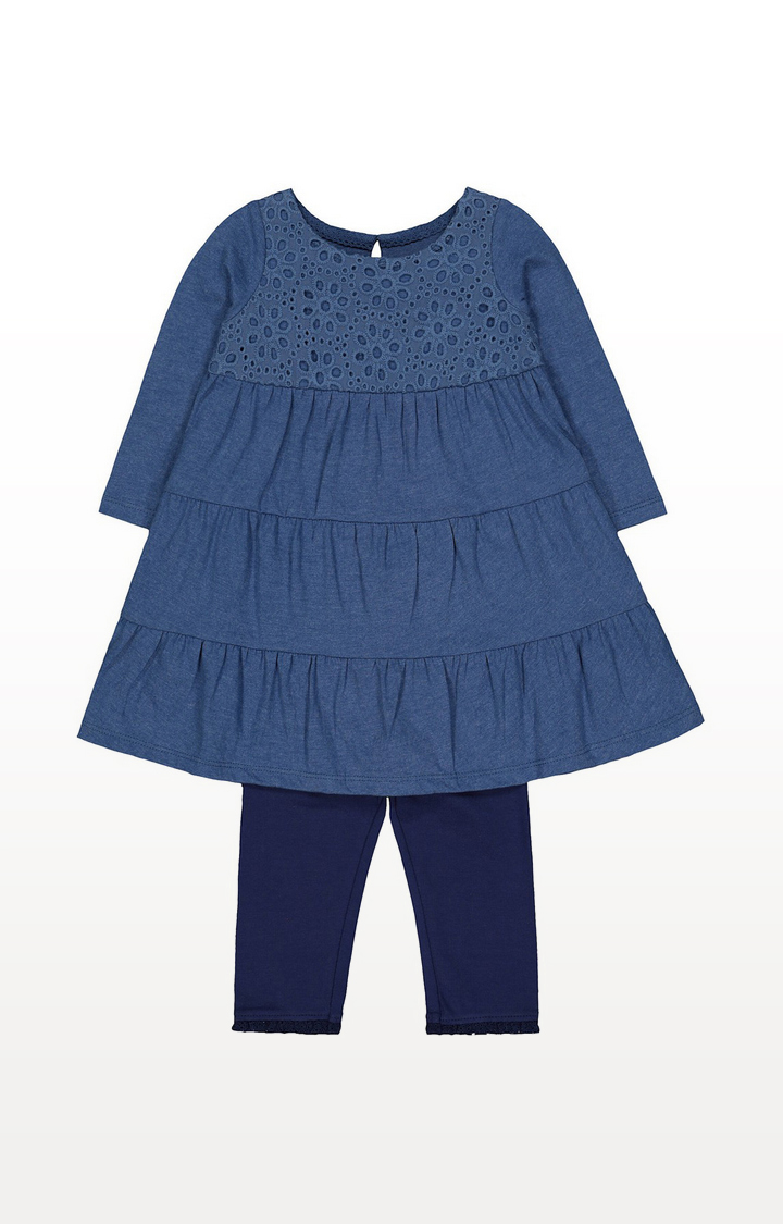 Mothercare | Blue Broderie Tiered Dress And Navy Leggings Set