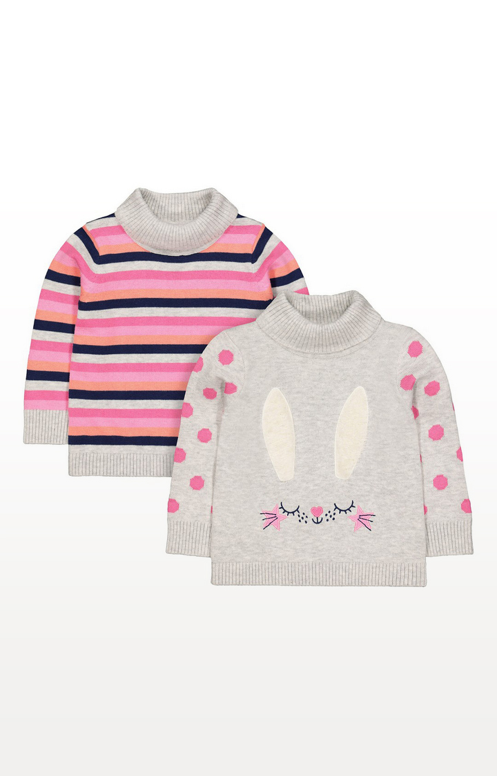 Mothercare   Bunny And Stripe Knitted Roll-Neck Jumpers - 2 Pack
