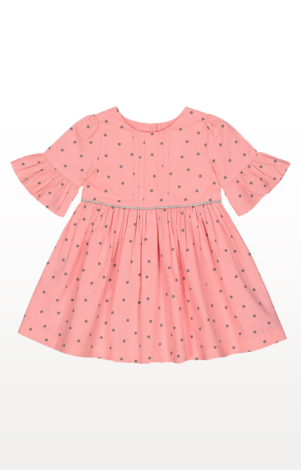 Mothercare | Pink Flowers Flute-Sleeved Dress