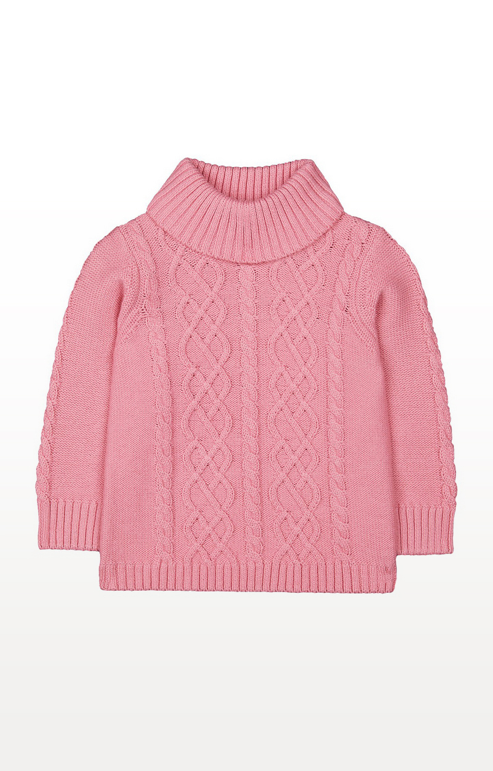 Mothercare | Pink Cable Knit Roll-Neck Jumper
