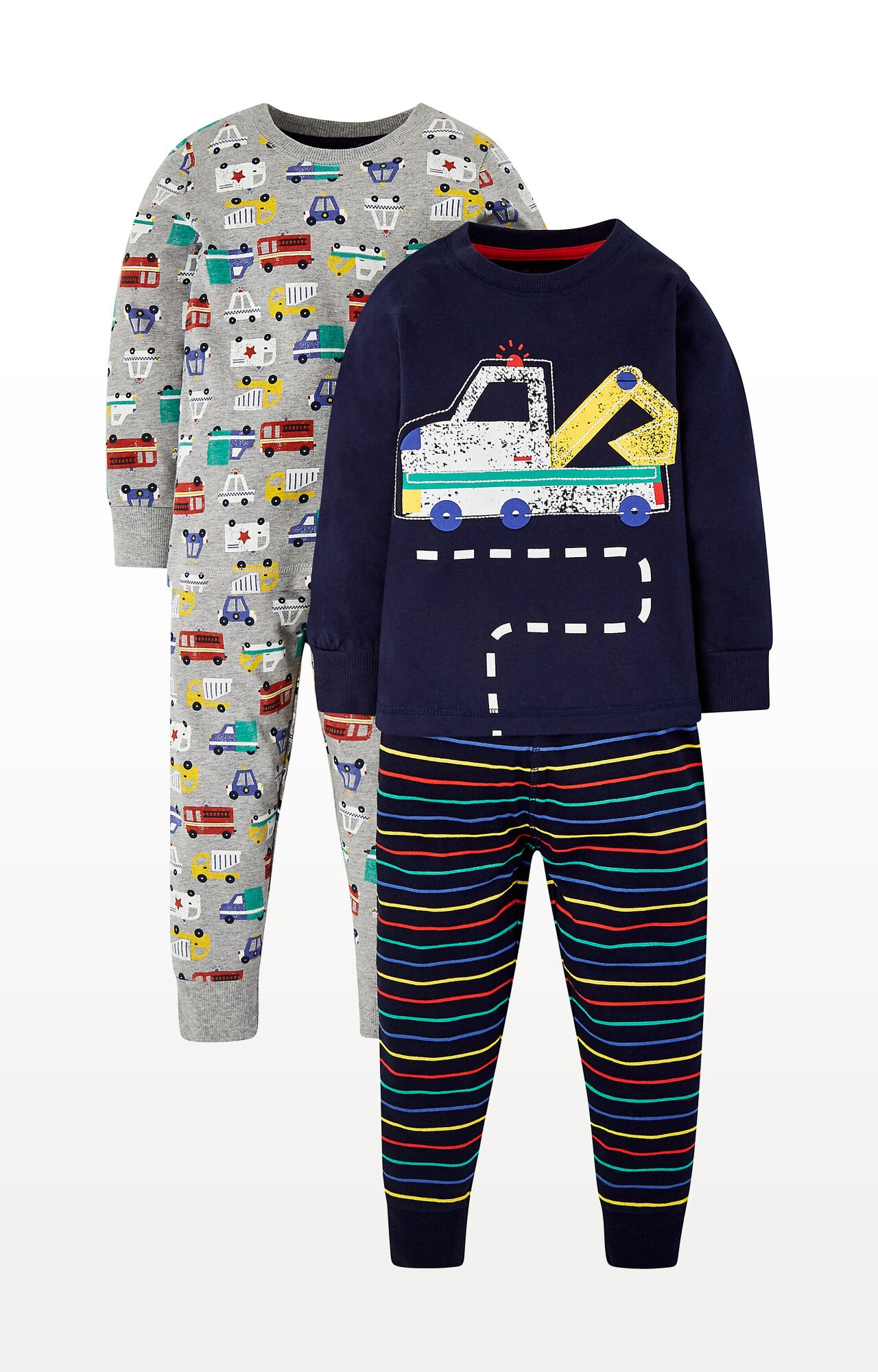 Mothercare | Grey and Navy Construction Vehicle Pyjamas