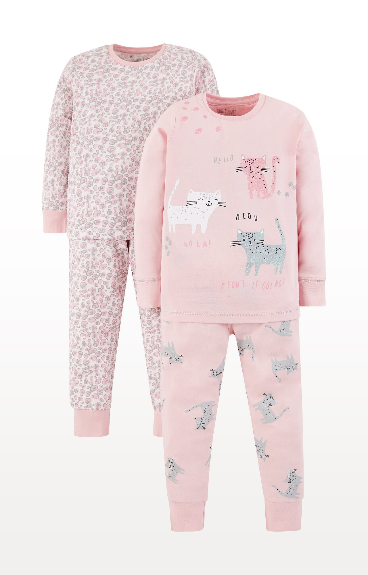 Mothercare   Pink Cat and Leopard Print Pyjamas - Pack of 2