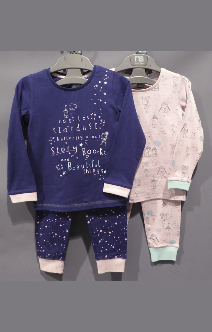 Mothercare | Pink and Navy Printed Twin Set - Pack of 2