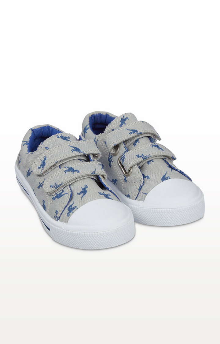 Mothercare | Back To Nursery Grey Dino Canvas Trainers