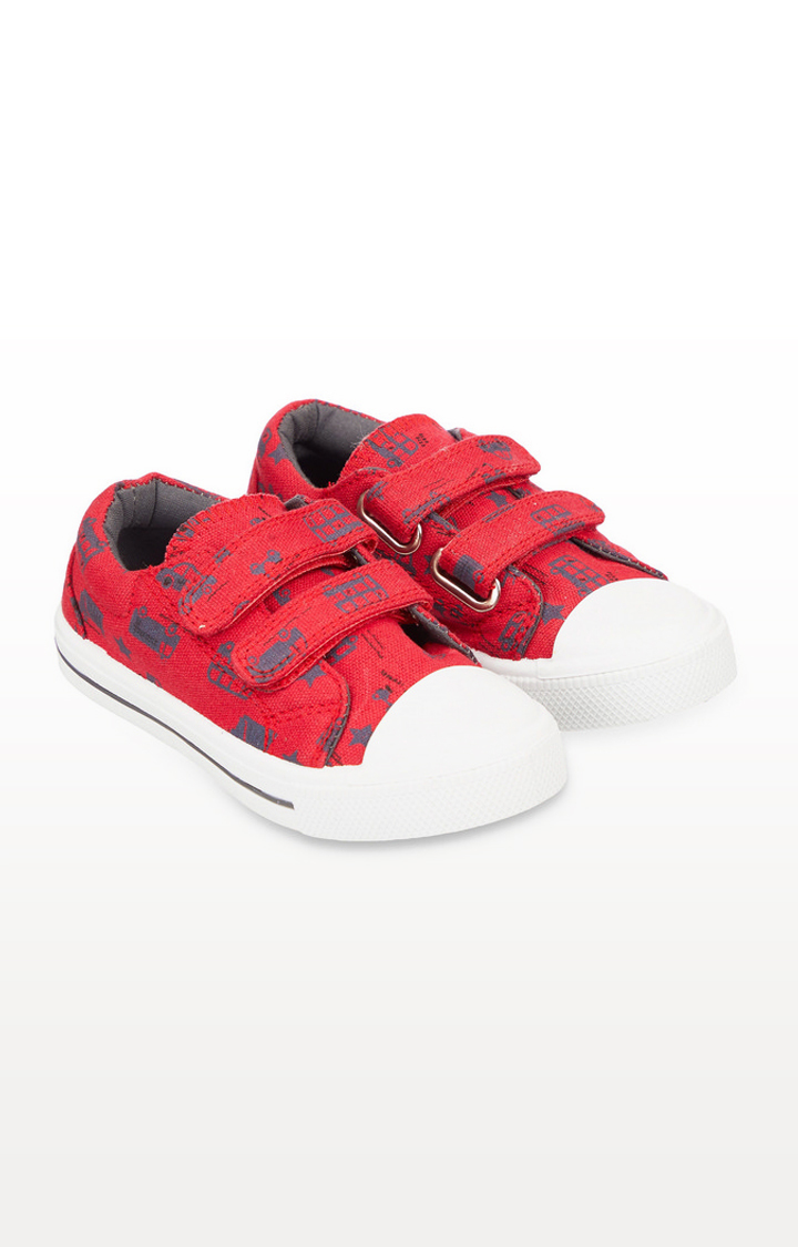 Mothercare | Back To Nursery Red Bus Canvas Trainers