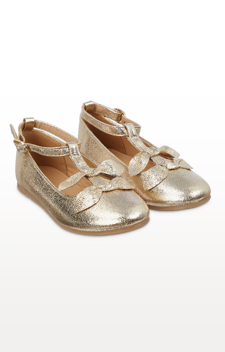 Mothercare | Gold Bow Ballerina Shoes