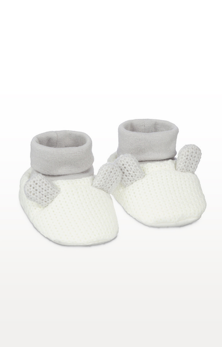 Mothercare | White Knitted Bunny Sock Top Baby Booties