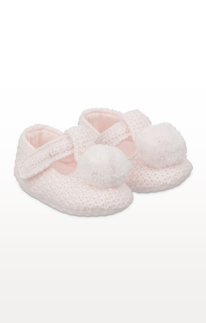 Mothercare | Pink Knitted T-Bar Baby Booties