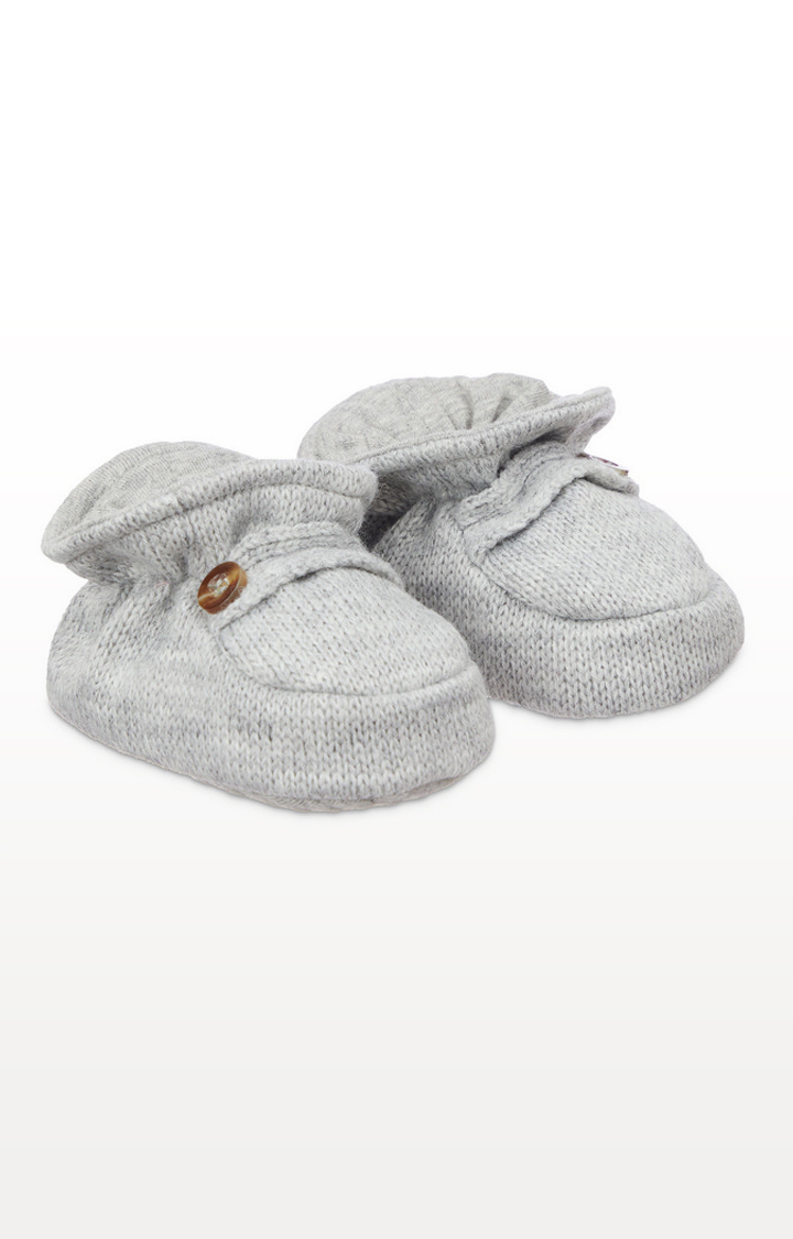 Mothercare | Grey Knitted Sock Top Baby Booties