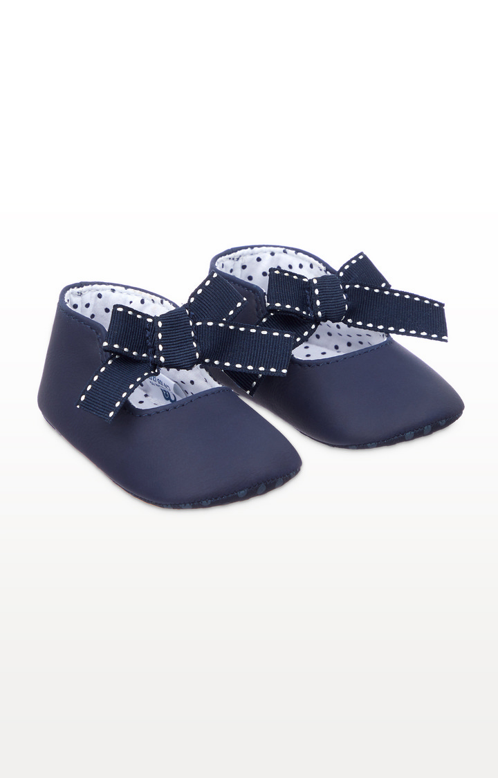 Mothercare | Navy Bow Pram Shoes
