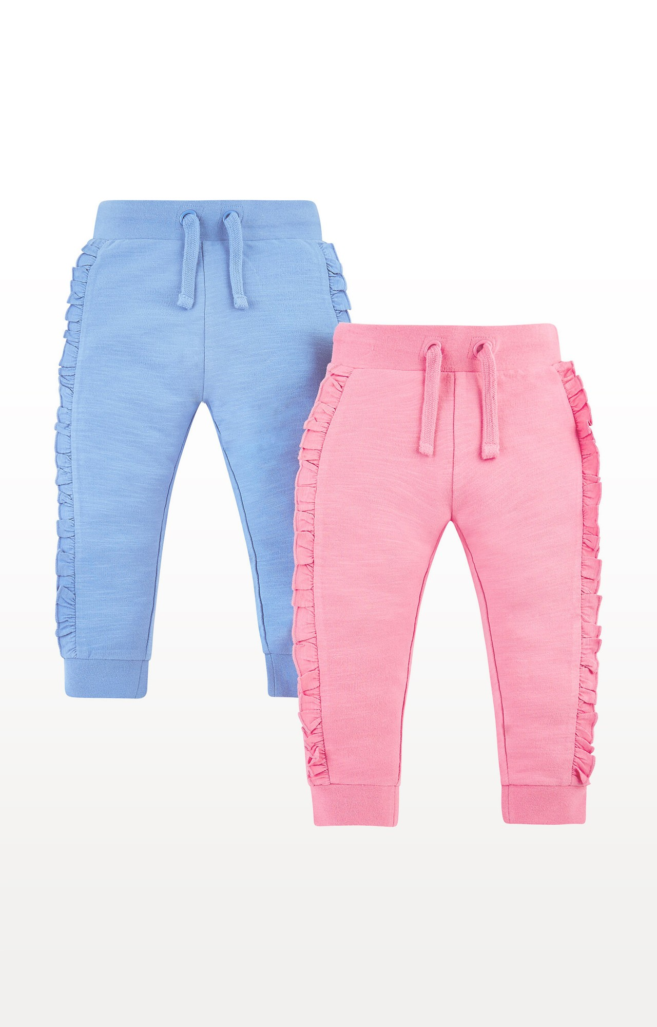 Mothercare   Pink and Blue Frill Joggers - Pack of 2